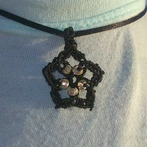 Black Starfish Silver Bead Macrame Necklace